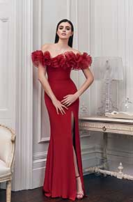 Red dress with ruffle neckline by Penelope May - Fashionworks London
