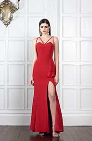 Spaghetti Strap Red dress by Penelope May - Fashionworks London